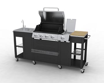 Barbecue a gas da esterno portatile con 4 bruciatori e 1 laterale - Barbecue portatile a gas ...